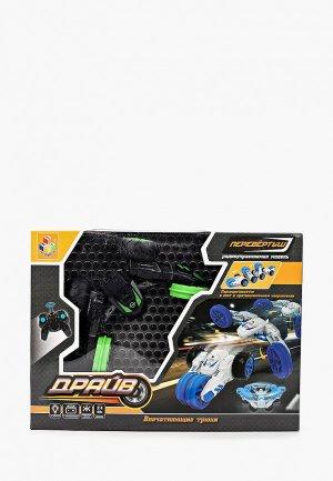 Игрушка радиоуправляемая 1Toy Драйв, трюковая трёхколёсная машина-перевёртыш на р/у. Цвет: зеленый