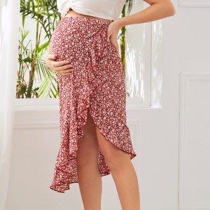 Асимметричная цветочная юбка для беременных SHEIN. Цвет: многоцветный