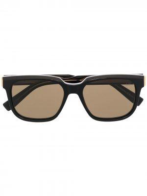 Солнцезащитные очки в прямоугольной оправе Dunhill. Цвет: 001 черный черный brown