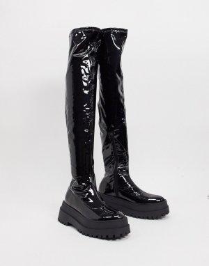 Черные ботфорты на плоской подошве -Черный цвет Public Desire