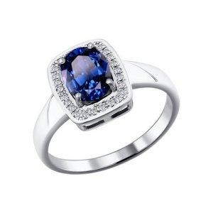 Кольцо из белого золота с бриллиантами и сапфиром SOKOLOV