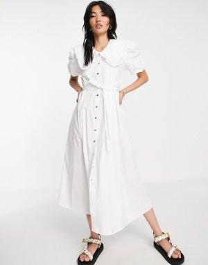Белое поплиновое платье макси с большим воротником -Белый River Island