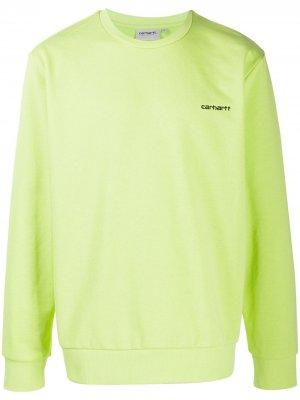 Толстовка с вышивкой и круглым вырезом Carhartt WIP. Цвет: зеленый