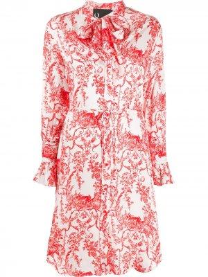 Платье-рубашка с цветочным принтом 8pm. Цвет: белый