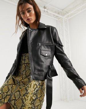 Черная кожаная куртка с поясом -Черный Barneys Originals