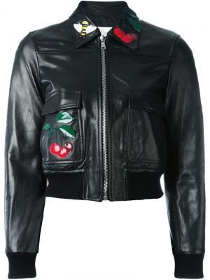 Кожаная куртка с заплаткой в виде вишен Red Valentino. Цвет: чёрный