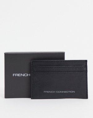 Классический кошелек для пластиковых карт черного цвета с контрастной надписью металлик -Черный цвет French Connection