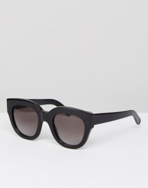 Черные солнцезащитные очки кошачий глаз cleo Monokel Eyewear. Цвет: черный