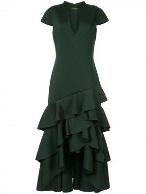 Длинное платье с оборками Badgley Mischka. Цвет: зеленый