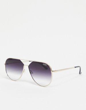 Женские солнцезащитные очки-авиаторы в золотистой оправе Quay Hold Please-Золотистый Australia