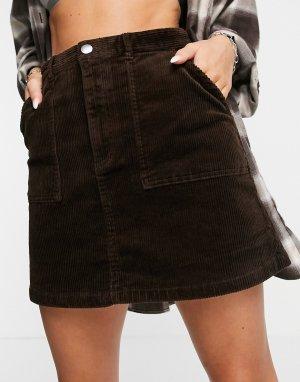 Коричневая юбка с пуговицами спереди -Коричневый цвет Monki