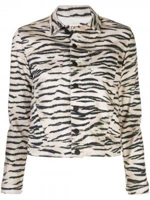 LAgence джинсовая куртка Celine с анималистичным принтом L'Agence. Цвет: нейтральные цвета