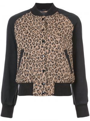 Куртка бомбер с леопардовым узором R13. Цвет: телесный