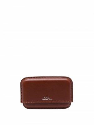 Картхолдер с тисненым логотипом A.P.C.. Цвет: коричневый