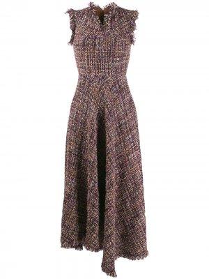 Твидовое платье асимметричного кроя Talbot Runhof