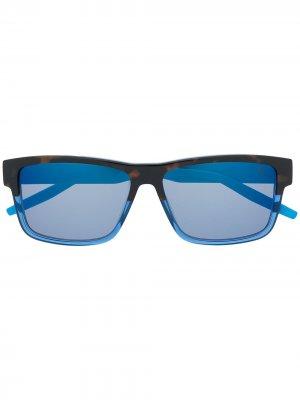 Солнцезащитные очки в контрастной квадратной оправе Puma. Цвет: черный