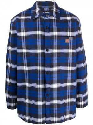 Клетчатая рубашка с нашивкой-логотипом Acne Studios. Цвет: синий