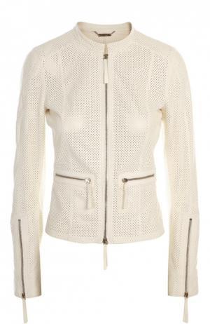 Куртка кожаная Roberto Cavalli. Цвет: белый