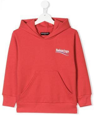 Толстовка с капюшоном и логотипом Balenciaga Kids. Цвет: красный
