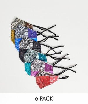 Набор из 6 масок для лица с принтом банданы -Разноцветный ASOS DESIGN