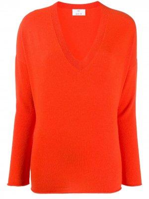 Джемпер с V-образным вырезом Allude. Цвет: оранжевый