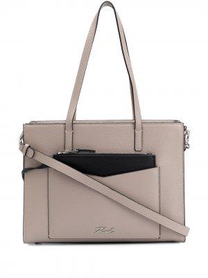 Большая сумка-тоут K/Pocket Karl Lagerfeld. Цвет: серый