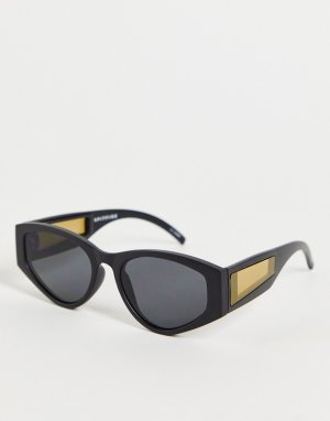 Черные круглые солнцезащитные очки в стиле унисекс с желтой вставкой на дужке Cobain2-Черный цвет Spitfire