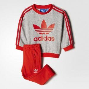 Комплект: джемпер и брюки Crew Originals adidas. Цвет: красный