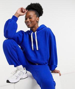 Спортивный костюм ярко-синего цвета в стиле oversized с худи контрастным шнурком и джоггерами -Голубой ASOS DESIGN