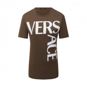 Хлопковая футболка Versace. Цвет: хаки