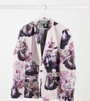 Пыльно-розовый льняной пиджак узкого кроя с цветочным принтом PLUS Twisted Tailor