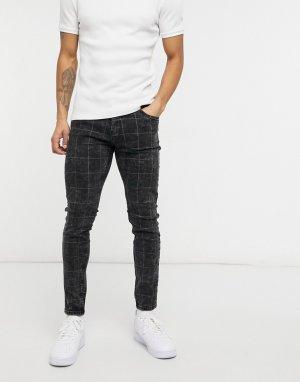 Черные выбеленные зауженные джинсы с сетчатым принтом -Серый Bershka