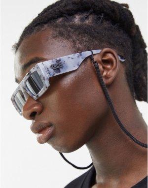 Квадратные солнцезащитные очки серого цвета с мраморным принтом -Серый Bershka