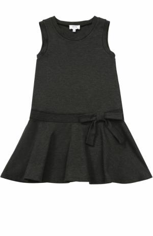Мини-платье джерси с оборкой и бантом Aletta. Цвет: темно-серый
