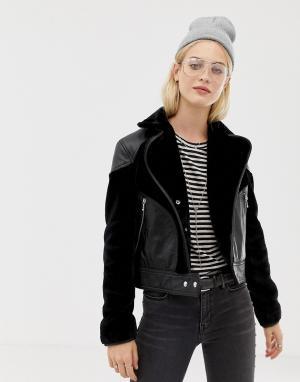 Кожаная куртка с искусственным мехом Zola-Черный AllSaints