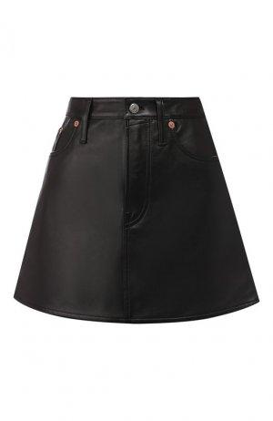 Кожаная юбка Acne Studios. Цвет: черный