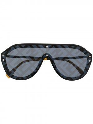 Солнцезащитные очки-авиаторы Fabulous с принтом Fendi Eyewear. Цвет: черный