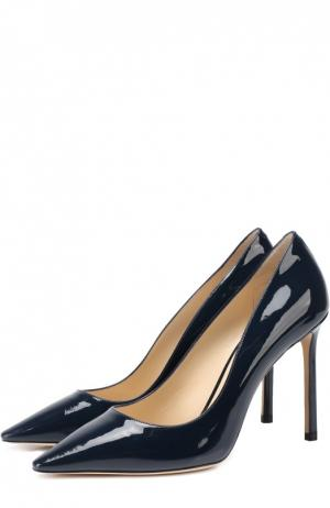 Лаковые туфли Romy 100 на шпильке Jimmy Choo. Цвет: темно-синий