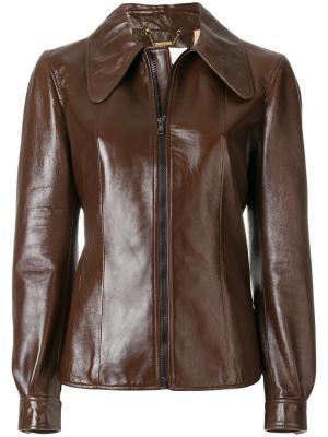 Куртка с удлиненным воротником и застежкой на молнию Chloé. Цвет: коричневый