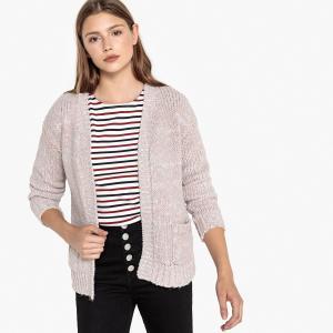 Кардиган с накладными карманами и длинными рукавами BEST MOUNTAIN. Цвет: темно-розовый