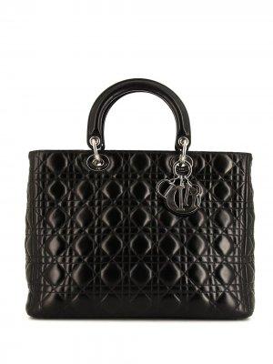 Большая сумка Lady Dior Cannage pre-owned Christian. Цвет: черный