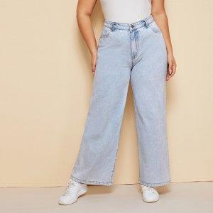 Широкие джинсы размера плюс SHEIN. Цвет: легкий синий умывания