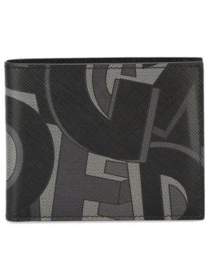 Квадратный бумажник с принтом-логотипом Salvatore Ferragamo. Цвет: черный