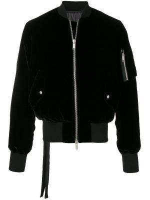 Бархатная куртка-бомбер Unravel Project. Цвет: черный