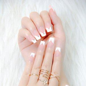 24шт Накладные ногти в французском стиле & 1 лист лента 1шт пилочка для ногтей SHEIN. Цвет: многоцветный