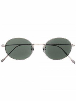 Солнцезащитные очки в круглой оправе Giorgio Armani. Цвет: серебристый