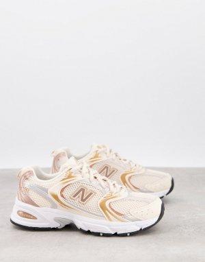 Розовые кроссовки с эффектом металлик New Balance 530-Розовый цвет