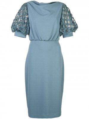Короткое платье Badgley Mischka. Цвет: синий