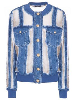 Куртка джинсовая с декором Balmain. Цвет: разноцветный