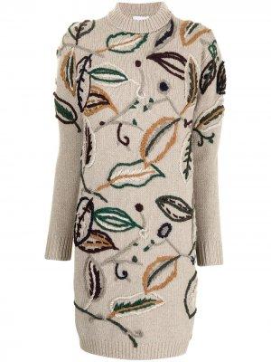 Трикотажное платье с цветочной вышивкой Salvatore Ferragamo. Цвет: коричневый